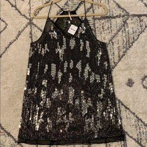 Free people, sequin long cami tank